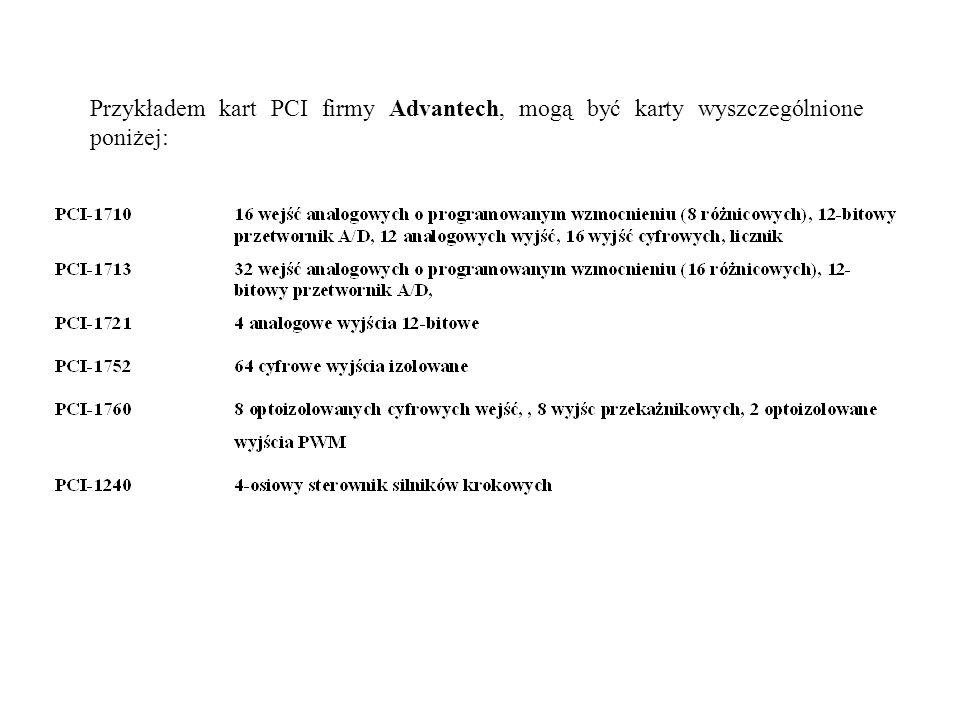 Przykładem kart PCI firmy Advantech, mogą być karty wyszczególnione poniżej:
