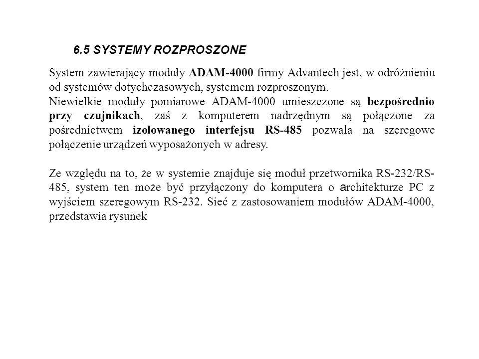 6.5 SYSTEMY ROZPROSZONE System zawierający moduły ADAM-4000 firmy Advantech jest, w odróżnieniu od systemów dotychczasowych, systemem rozproszonym.
