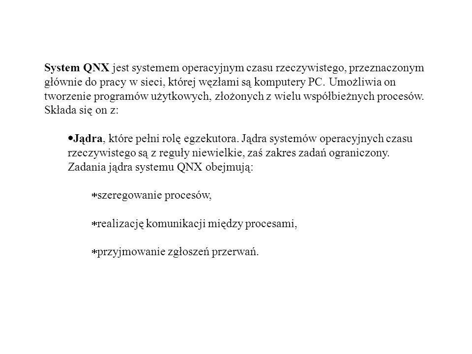 System QNX jest systemem operacyjnym czasu rzeczywistego, przeznaczonym głównie do pracy w sieci, której węzłami są komputery PC. Umożliwia on tworzenie programów użytkowych, złożonych z wielu współbieżnych procesów. Składa się on z: