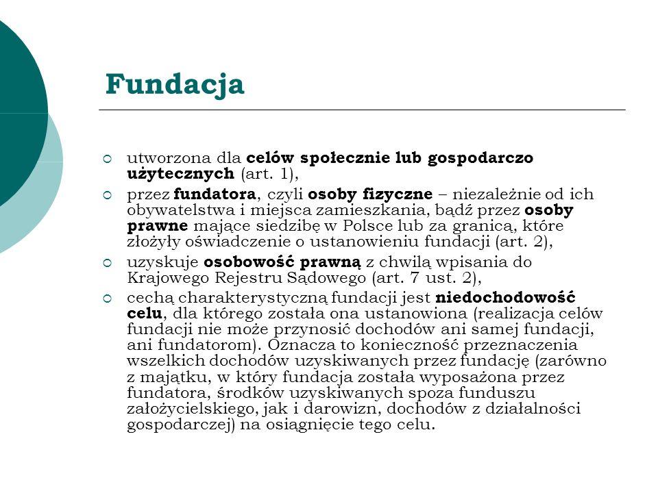 Fundacja utworzona dla celów społecznie lub gospodarczo użytecznych (art. 1),