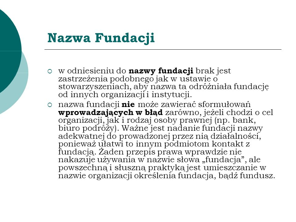 Nazwa Fundacji