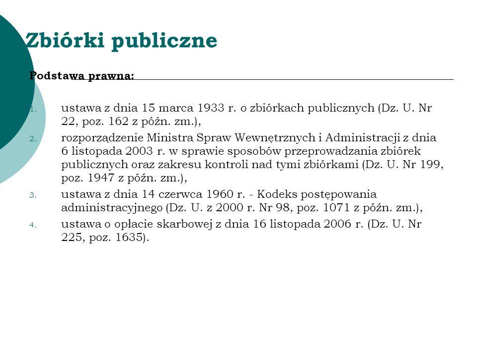 Zbiórki publiczne Podstawa prawna: