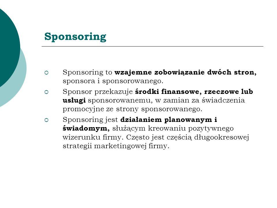SponsoringSponsoring to wzajemne zobowiązanie dwóch stron, sponsora i sponsorowanego.