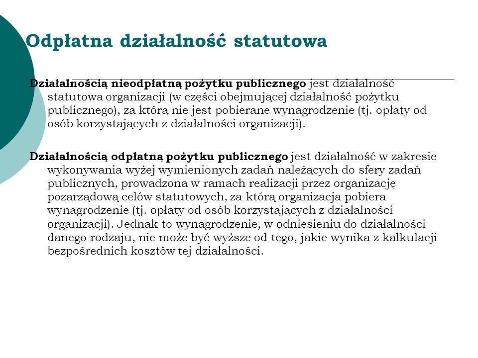 Odpłatna działalność statutowa