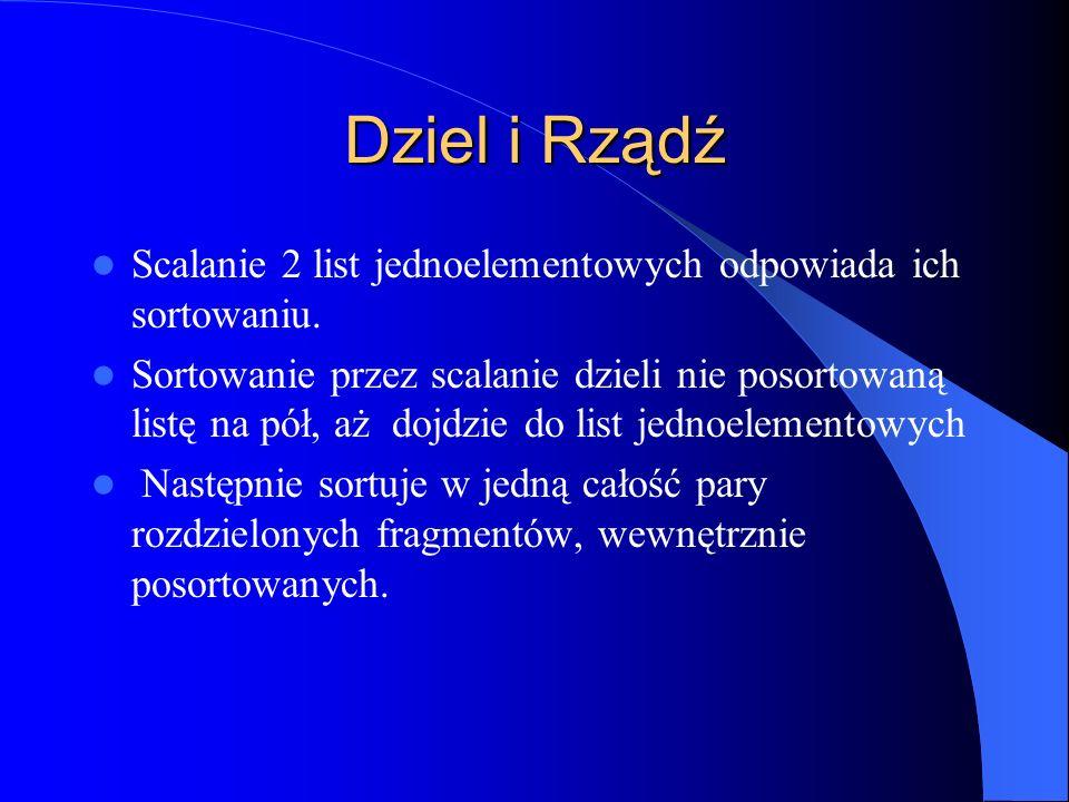 Dziel i Rządź Scalanie 2 list jednoelementowych odpowiada ich sortowaniu.