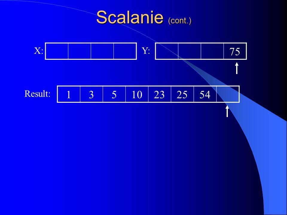 Scalanie (cont.) X: Y: 75 Result: 1 3 5 10 23 25 54
