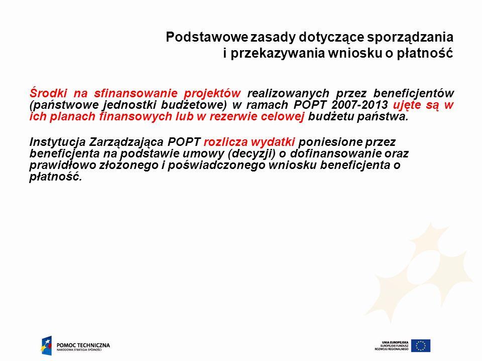 Podstawowe zasady dotyczące sporządzania i przekazywania wniosku o płatność