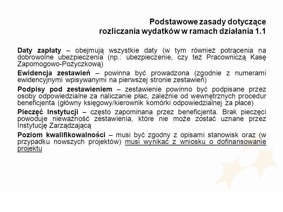 Podstawowe zasady dotyczące rozliczania wydatków w ramach działania 1