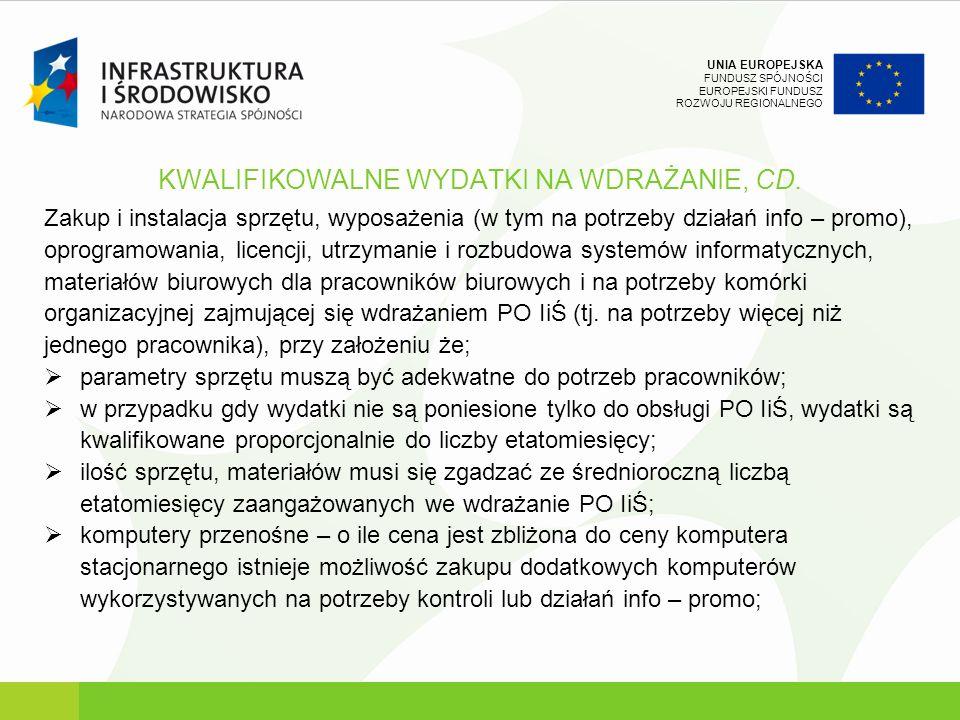 KWALIFIKOWALNE WYDATKI NA WDRAŻANIE, CD.