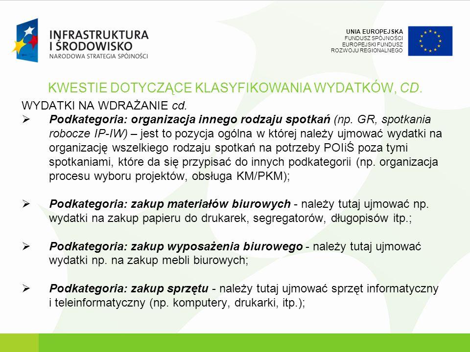 KWESTIE DOTYCZĄCE KLASYFIKOWANIA WYDATKÓW, CD.