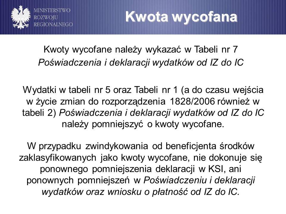 Kwota wycofana Kwoty wycofane należy wykazać w Tabeli nr 7 Poświadczenia i deklaracji wydatków od IZ do IC.