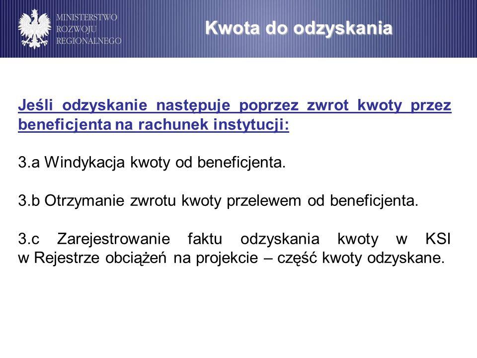 Kwota do odzyskania Jeśli odzyskanie następuje poprzez zwrot kwoty przez beneficjenta na rachunek instytucji: