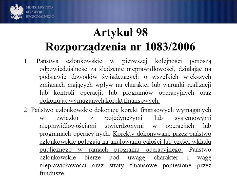 Artykuł 98 Rozporządzenia nr 1083/2006