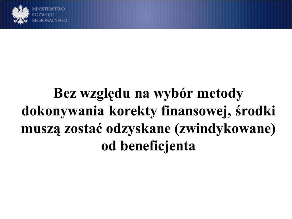 Bez względu na wybór metody dokonywania korekty finansowej, środki muszą zostać odzyskane (zwindykowane) od beneficjenta