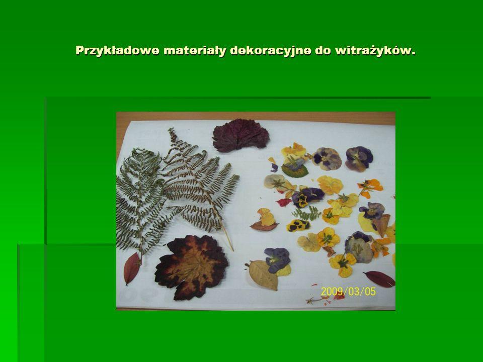 Przykładowe materiały dekoracyjne do witrażyków.