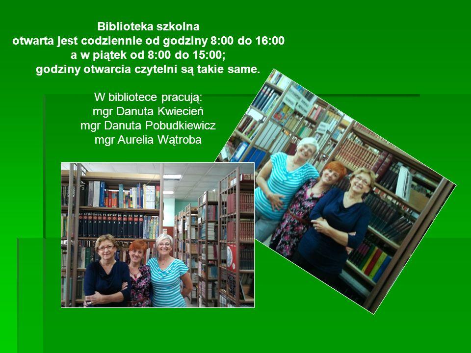 Biblioteka szkolna otwarta jest codziennie od godziny 8:00 do 16:00 a w piątek od 8:00 do 15:00; godziny otwarcia czytelni są takie same.