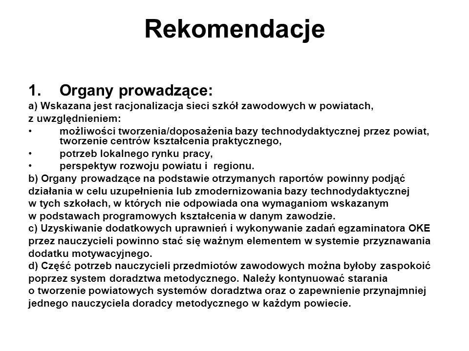 Rekomendacje Organy prowadzące: