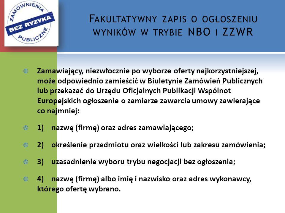 Fakultatywny zapis o ogłoszeniu wyników w trybie NBO i ZZWR