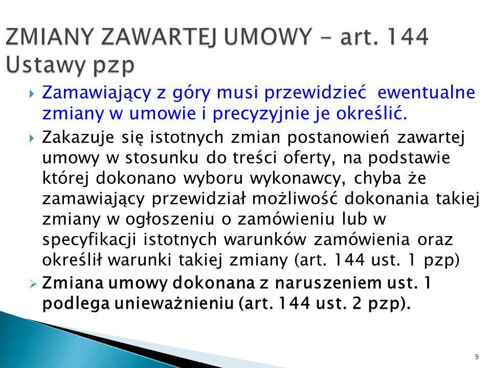 ZMIANY ZAWARTEJ UMOWY - art. 144 Ustawy pzp