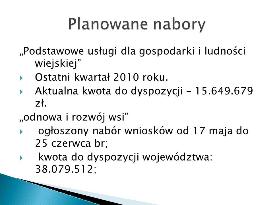 """Planowane nabory""""Podstawowe usługi dla gospodarki i ludności wiejskiej Ostatni kwartał 2010 roku."""