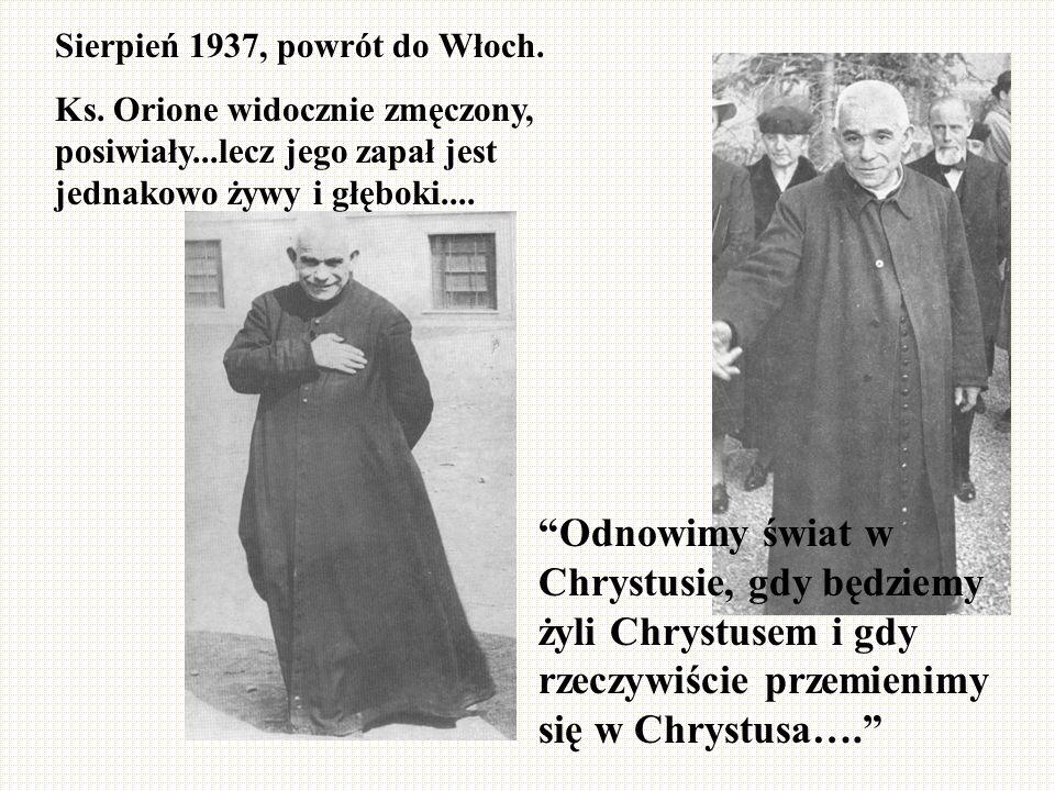 Sierpień 1937, powrót do Włoch.