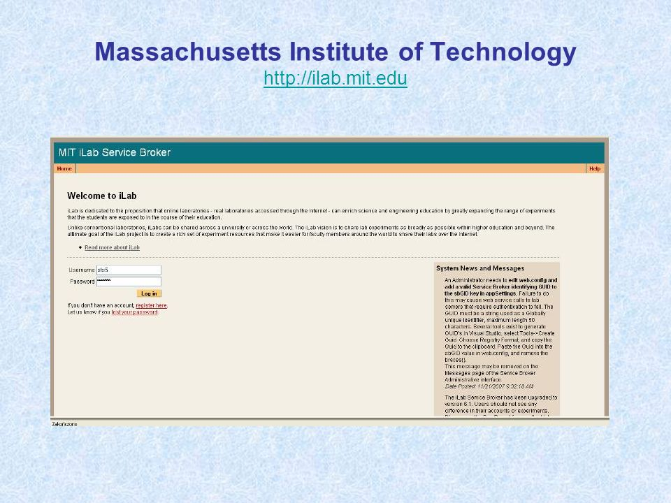 Massachusetts Institute of Technology http://ilab.mit.edu