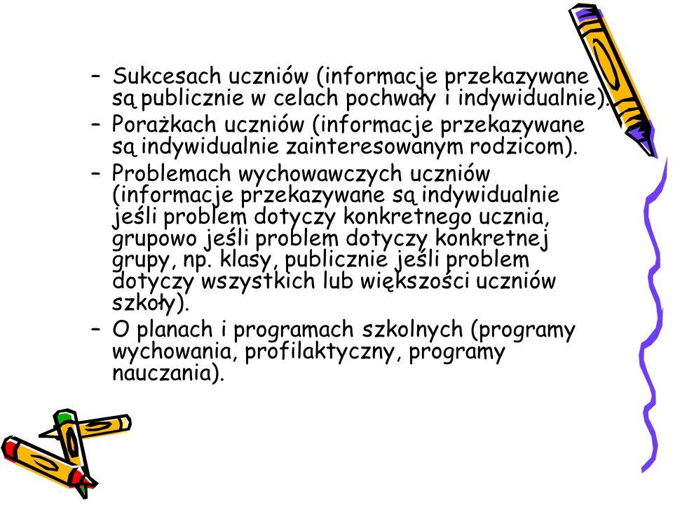Sukcesach uczniów (informacje przekazywane są publicznie w celach pochwały i indywidualnie).
