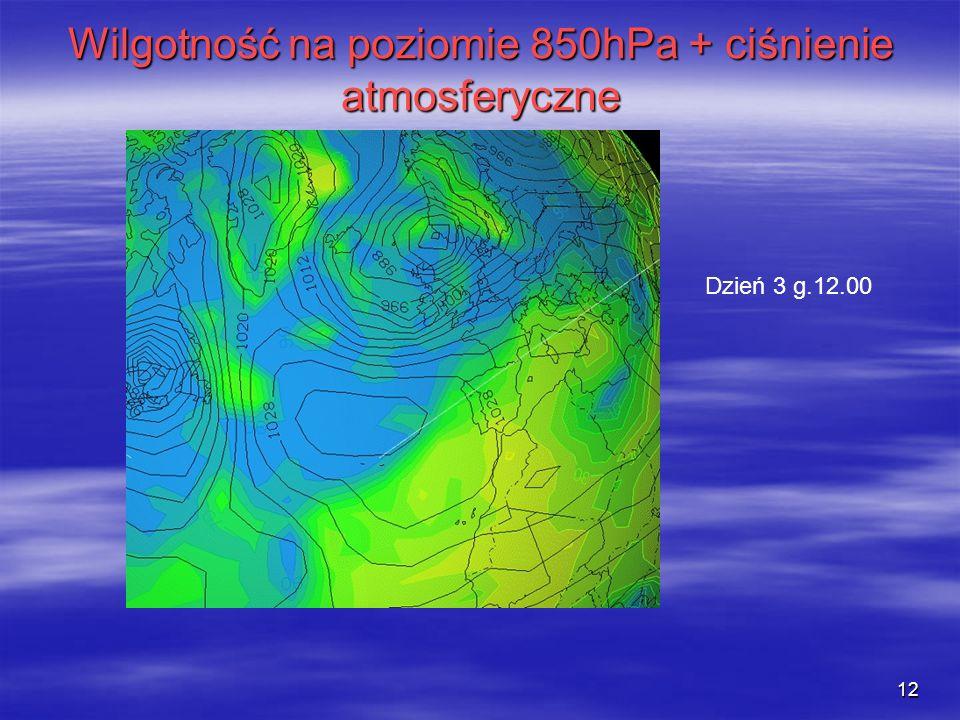 Wilgotność na poziomie 850hPa + ciśnienie atmosferyczne