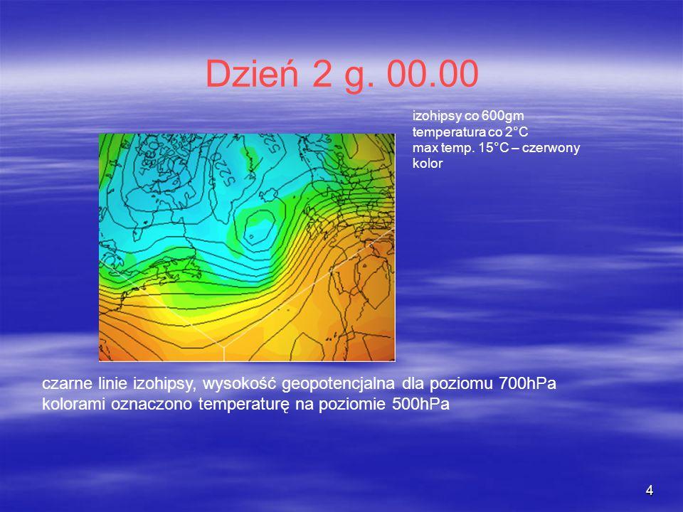 Dzień 2 g. 00.00 izohipsy co 600gm. temperatura co 2°C. max temp. 15°C – czerwony. kolor.