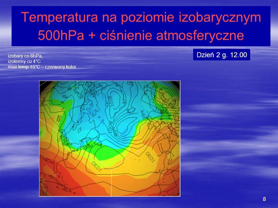 Temperatura na poziomie izobarycznym 500hPa + ciśnienie atmosferyczne