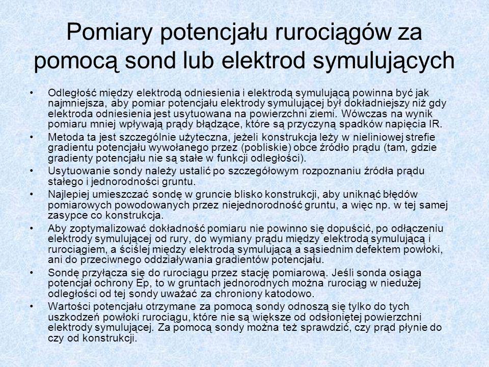 Pomiary potencjału rurociągów za pomocą sond lub elektrod symulujących