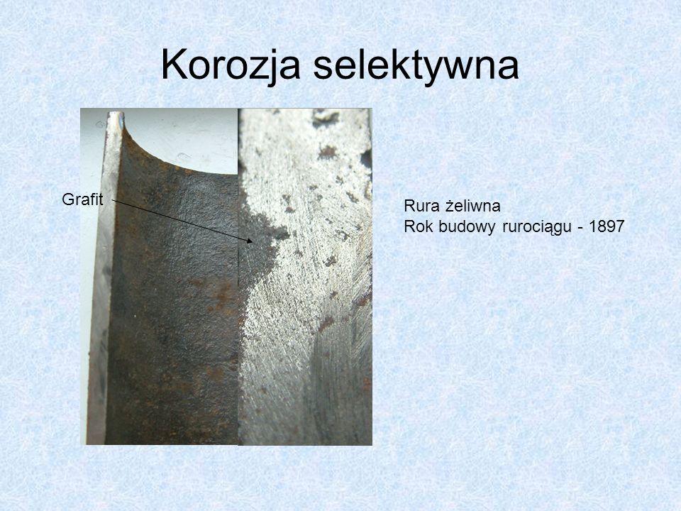 Korozja selektywna Grafit Rura żeliwna Rok budowy rurociągu - 1897