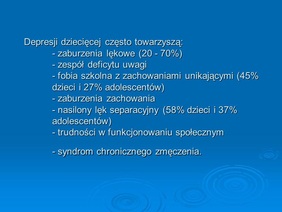 Depresji dziecięcej często towarzyszą:. - zaburzenia lękowe (20 - 70%)