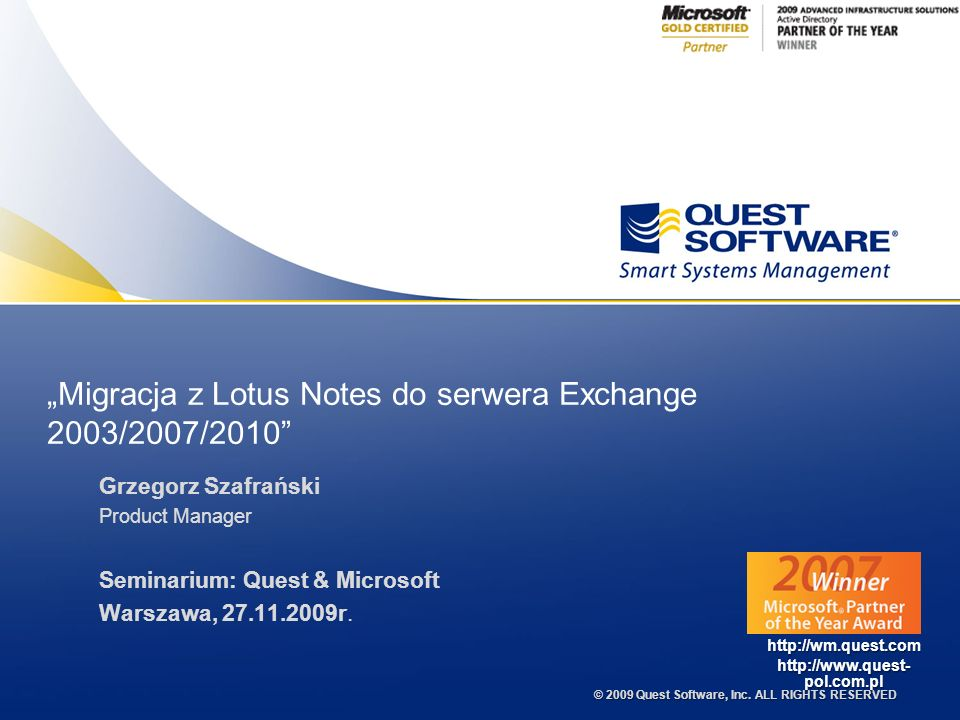 """Migracja z Lotus Notes do serwera Exchange 2003/2007/2010"
