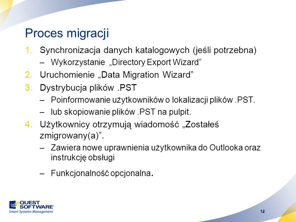 Proces migracji Synchronizacja danych katalogowych (jeśli potrzebna)
