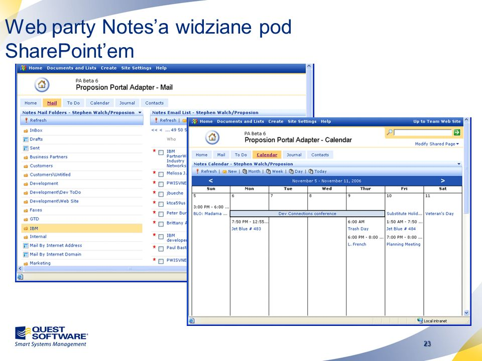 Web party Notes'a widziane pod SharePoint'em