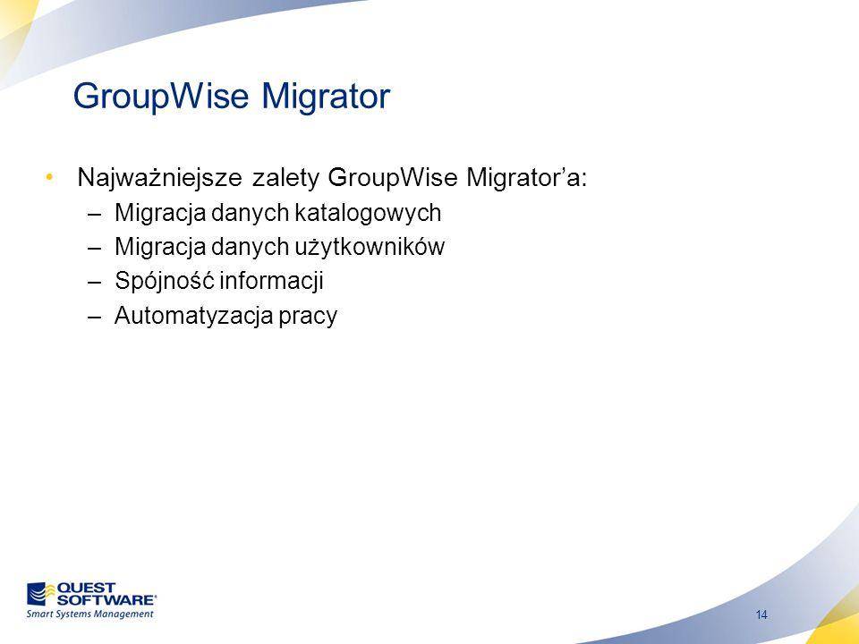 GroupWise Migrator Najważniejsze zalety GroupWise Migrator'a: