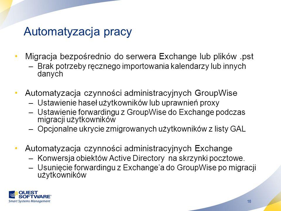 Automatyzacja pracy Migracja bezpośrednio do serwera Exchange lub plików .pst. Brak potrzeby ręcznego importowania kalendarzy lub innych danych.