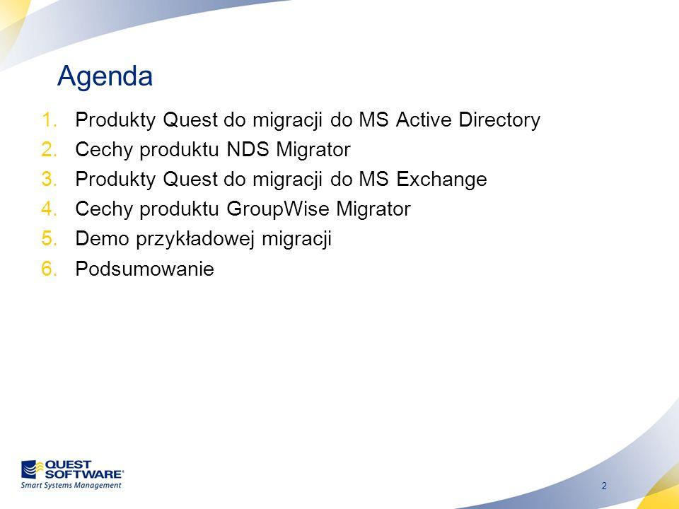 Agenda Produkty Quest do migracji do MS Active Directory