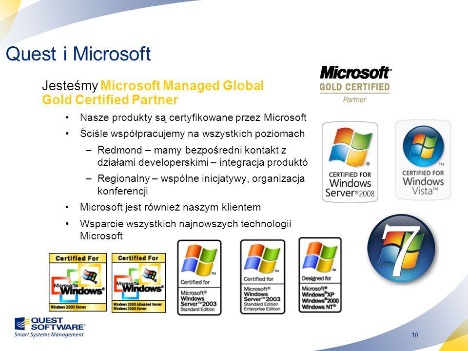 Quest i Microsoft Jesteśmy Microsoft Managed Global Gold Certified Partner. Nasze produkty są certyfikowane przez Microsoft.