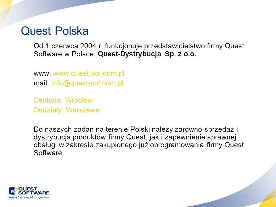 Quest Polska Od 1 czerwca 2004 r. funkcjonuje przedstawicielstwo firmy Quest Software w Polsce: Quest-Dystrybucja Sp. z o.o.