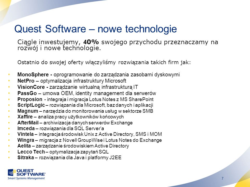 Quest Software – nowe technologie
