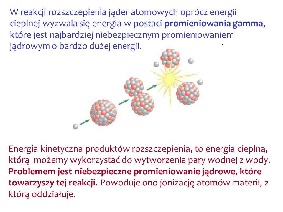 W reakcji rozszczepienia jąder atomowych oprócz energii cieplnej wyzwala się energia w postaci promieniowania gamma, które jest najbardziej niebezpiecznym promieniowaniem jądrowym o bardzo dużej energii.