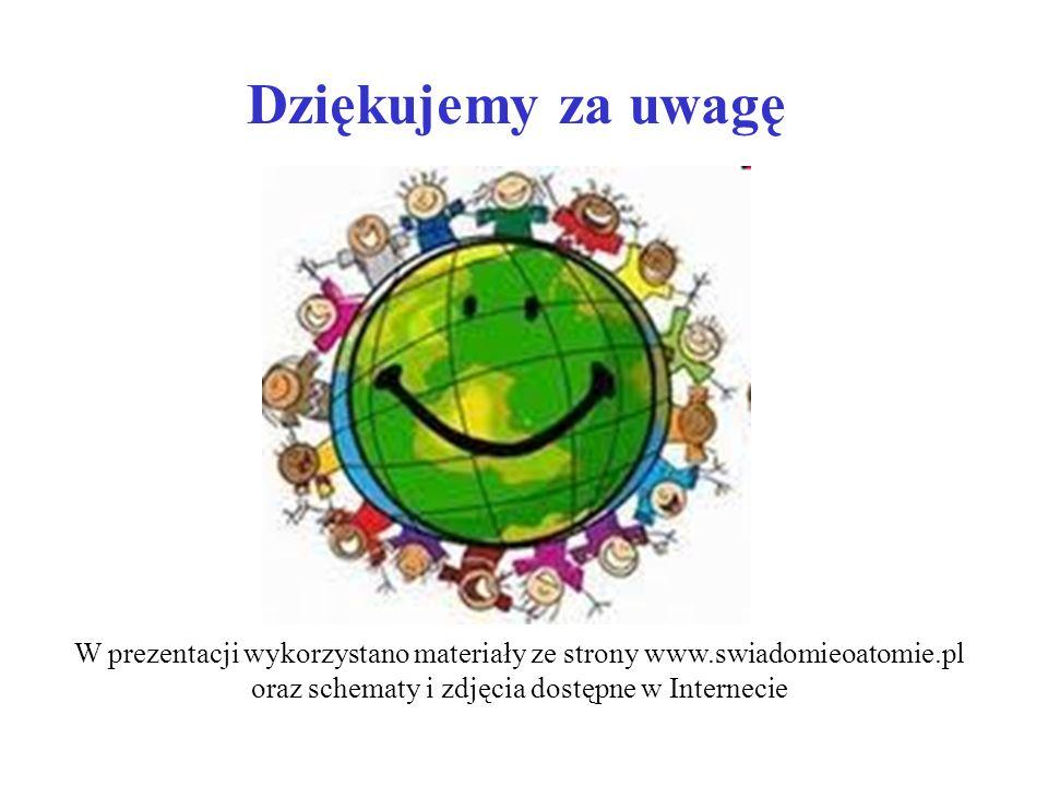 Dziękujemy za uwagę W prezentacji wykorzystano materiały ze strony www.swiadomieoatomie.pl.