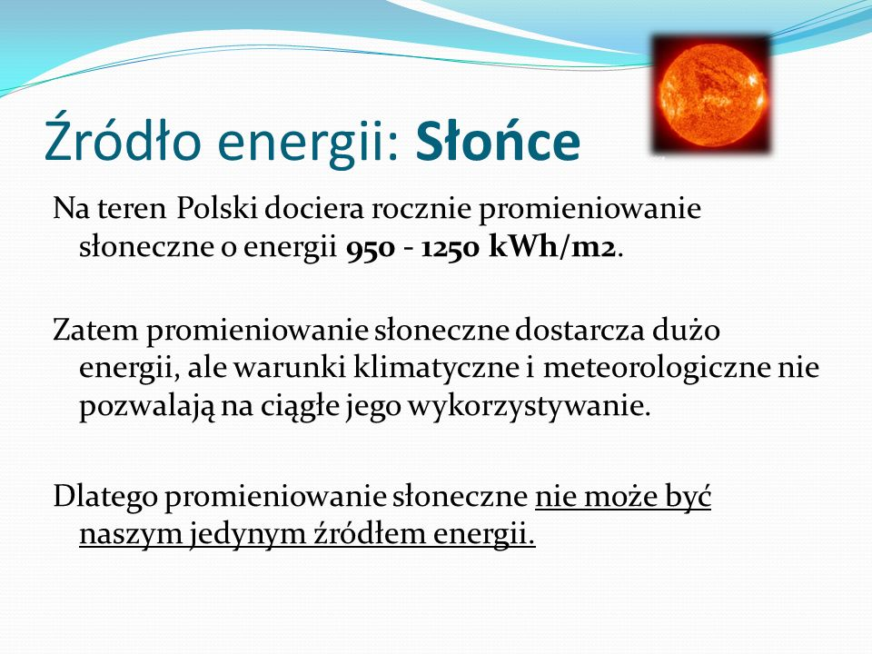 Źródło energii: Słońce