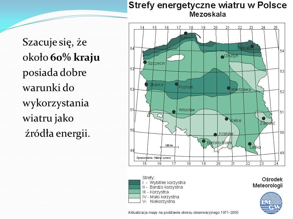Szacuje się, że około 60% kraju posiada dobre warunki do wykorzystania wiatru jako źródła energii.