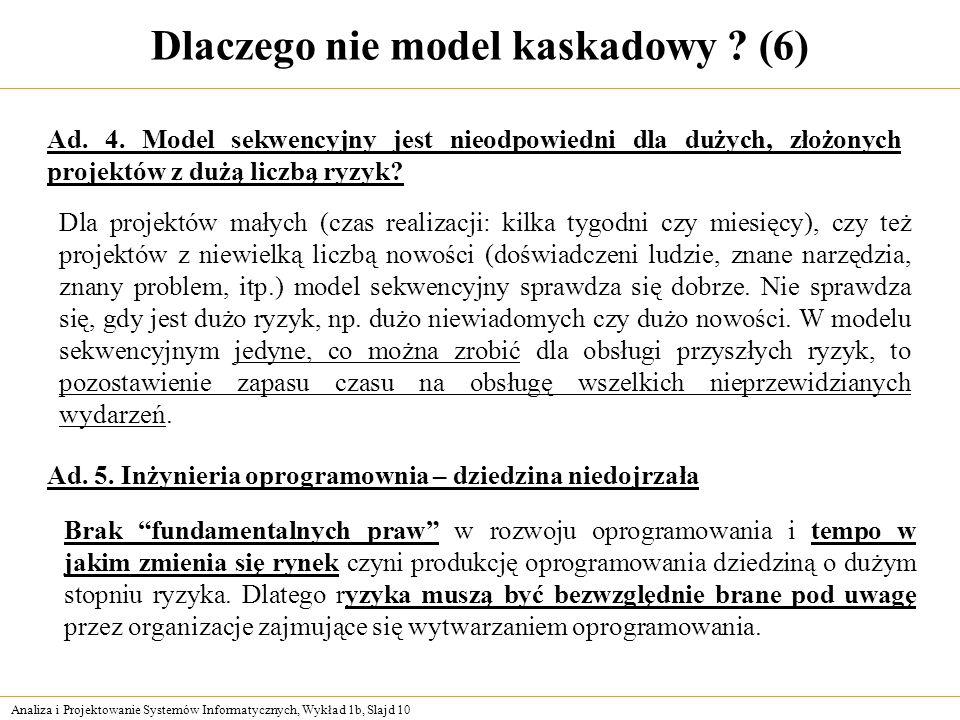 Dlaczego nie model kaskadowy (6)
