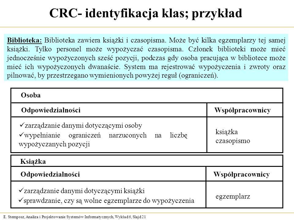 CRC- identyfikacja klas; przykład