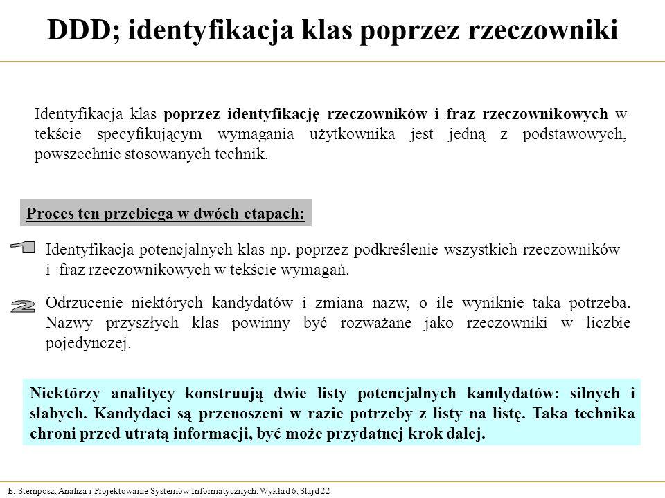 DDD; identyfikacja klas poprzez rzeczowniki