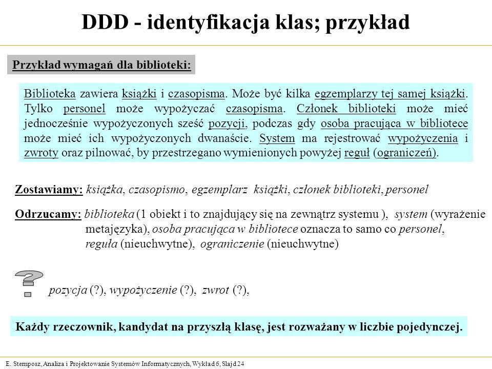 DDD - identyfikacja klas; przykład